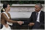 奥巴马会见昂山素季 宣布将解除对缅甸制裁